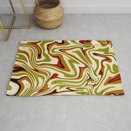 Green and Brown Liquid Abstract  Rug