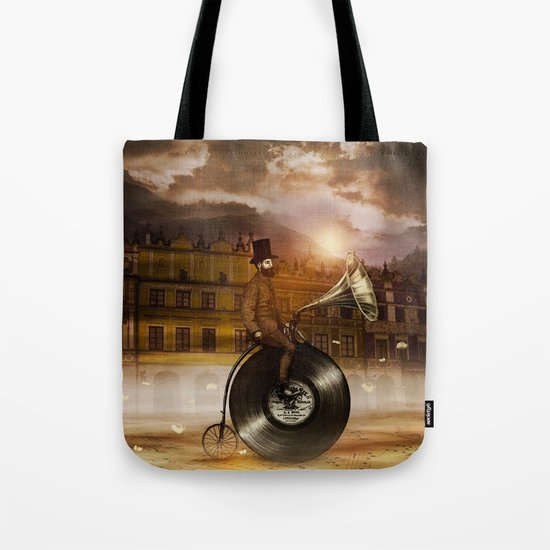 Music Man in the City, by Eric Fan and Viviana González Tote Bag