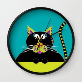 Cross-eyed kitty cat Wall Clock