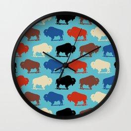 Colorful Buffalo Bison Pattern 279 Wall Clock