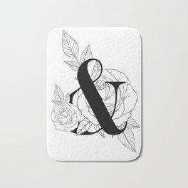 Ampersand Monogram with Rose Line Art Bath Mat