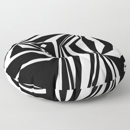 Confinement Black Ink on White Striped Geometric Drawing Floor Pillow