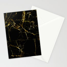 Golden Marble - Black and gold marble pattern, textured design Stationery Cards
