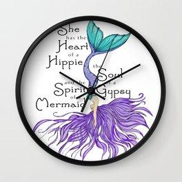 Gypsy Soul Hippy Heart Mermaid Spirit T-Shirt Wall Clock