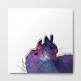 Bunny Mother And Baby Metal Print