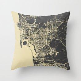 San Diego Map yellow Throw Pillow
