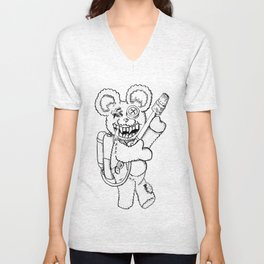 Teddy Rockin' the Flamethrower Unisex V-Neck