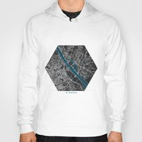 vienna Hoodies featuring Vienna city map black colour by MCartography