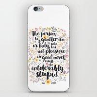 jane austen iPhone & iPod Skins featuring Jane Austen - Intolerably Stupid  by Evie Seo