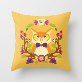 Baltimore Woods Owl - Fall Colors Throw Pillow
