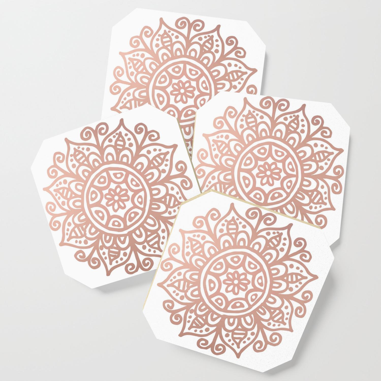 Rose Gold Floral Mandala Coaster By Julieerindesigns Society6