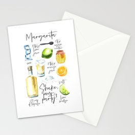 Margarita Recipe Watercolor Illustration Stationery Cards