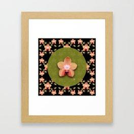 Magenta Peach Phalaenopsis Orchid Pattern Framed Art Print