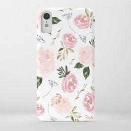 Vintage Floral Blossom - Pink Watercolor Florals iPhone Case