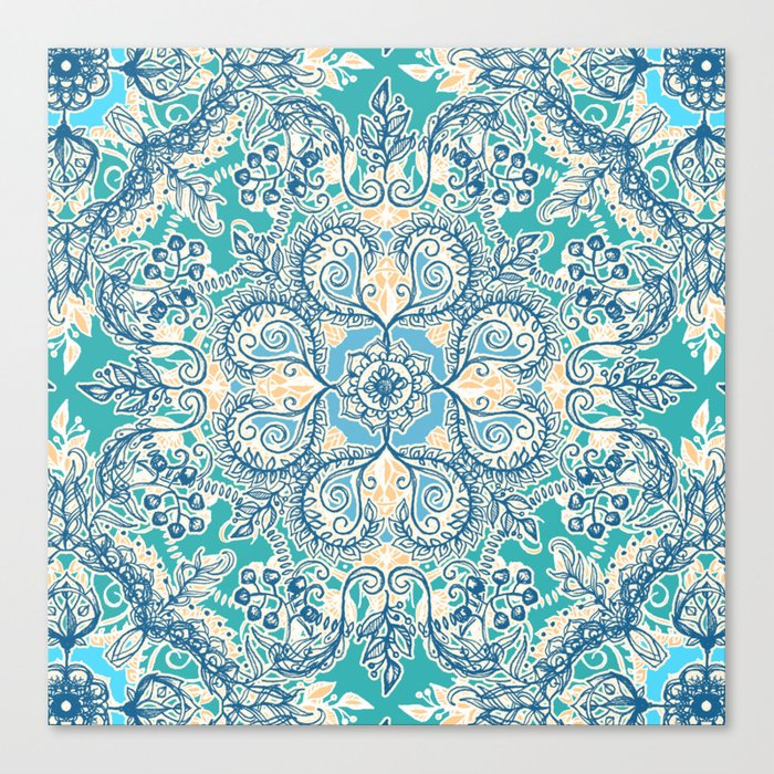 Gypsy Floral in Teal & Blue Canvas Print