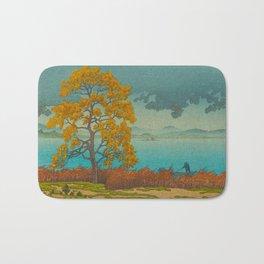 Vintage Japanese Woodblock Print Autumn Japanese Landscape Field Tall Tree Bath Mat