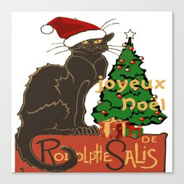 Joyeux Noel Le Chat Noir With Tree And Gifts Canvas Print