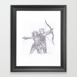 Black Widow and Hawkeye Framed Art Print