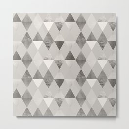 FUNKY PATTERN Triangles brown Metal Print