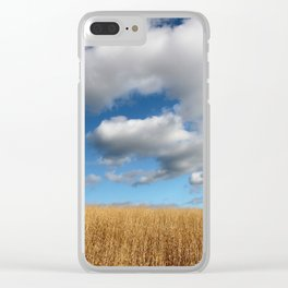 A dramatic Cloudy Sky over a Golden Field Clear iPhone Case