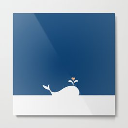 Whale in Blue Ocean with a Love Heart Metal Print
