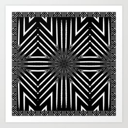 Black and White Rattan Triangles Art Print