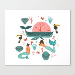 Mermaids summer Canvas Print