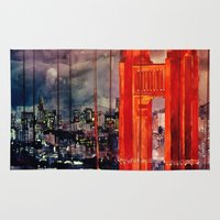 san francisco Area & Throw Rugs featuring San Francisco by takmaj