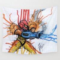 samus Wall Tapestries featuring Metroid Samus Ink by chris panila
