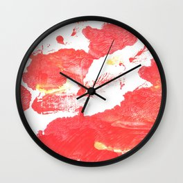 Coral red abstract Wall Clock