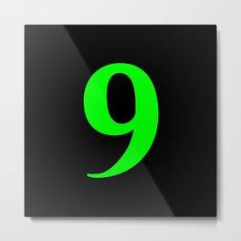 9 (LIME & BLACK NUMBERS) Metal Print