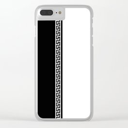 Greek Key 2 - White and Black Clear iPhone Case