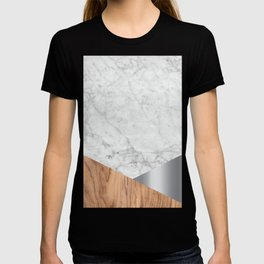 White Marble Wood & Silver #157 T-shirt
