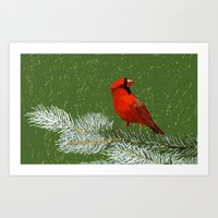 cardinal Art Prints featuring Cardinal by Janko Illustration