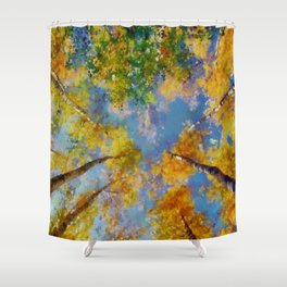 Fall trees in the sky Shower Curtain