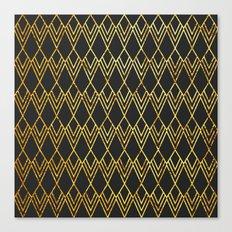Art Deco Diamond Teardop - Black & Gold Canvas Print