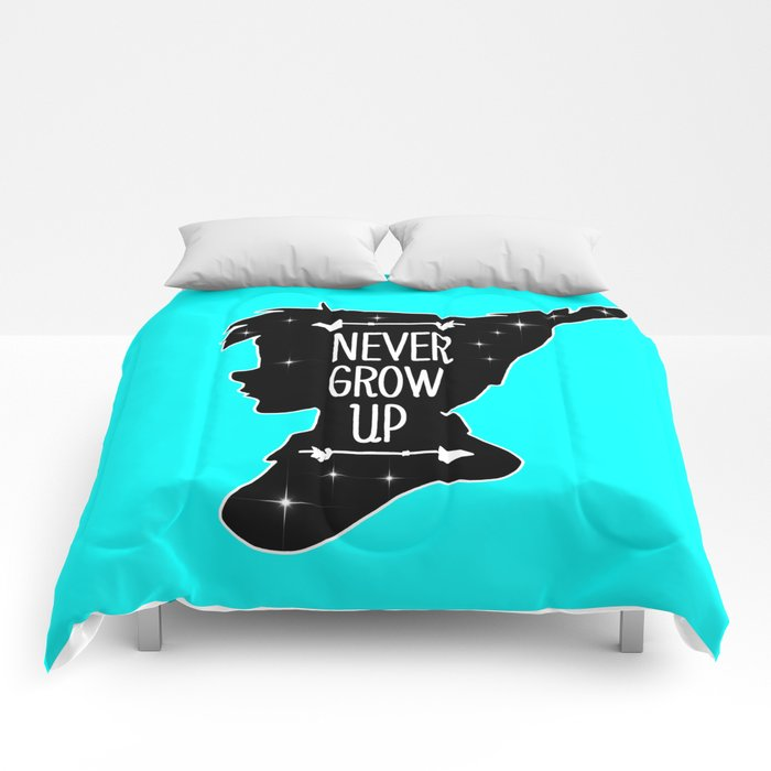 Peter Pan Quote Never Grow Up Comforters By Maryedenoa Society6
