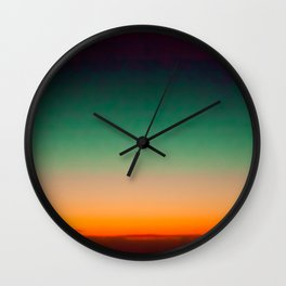 Green and Yellow Magic Dawn in the Sky (Vintage Nature Photography) Wall Clock