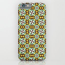 Barcelona cement tile in yellow, brown and blue iPhone Case