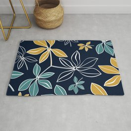 Modern, Minimal, Line Art, Floral Prints, Navy Blue and Yellow Rug