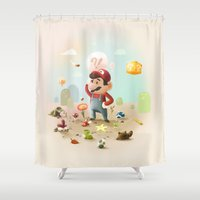 super mario Shower Curtains featuring Too Super Mario by Christian Jackson