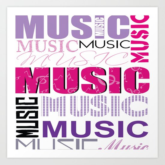 The Word Music In Purple and Pink Art Print