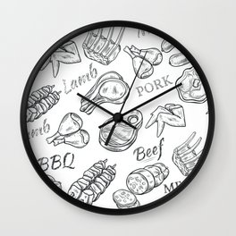 Funny Meat Food Art Wall Clock