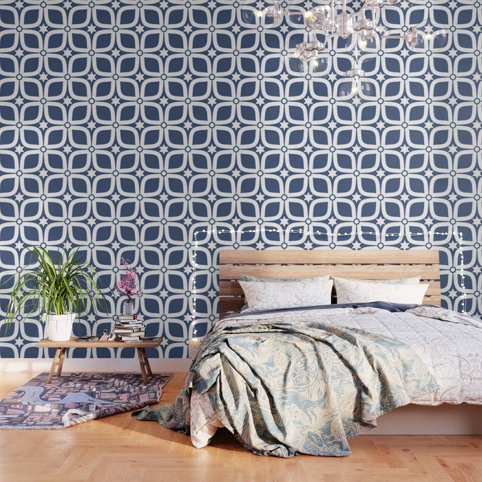 Mid Century Modern 4 Leaf Clover Navy And White Wallpaper By Elsysart