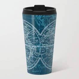 Antique Navigation World Map in Turquoise and White Travel Mug