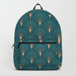 Vintage Art Deco Floral Copper & Teal Backpack