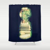 door Shower Curtains featuring door by gzm_guvenc