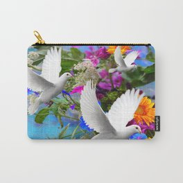 White Doves in Blue & Purple Garden Carry-All Pouch