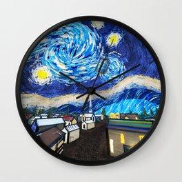 Tardis Art Starry City Night Wall Clock