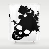 baloon Shower Curtains featuring Baby baloon skull by _Moj_